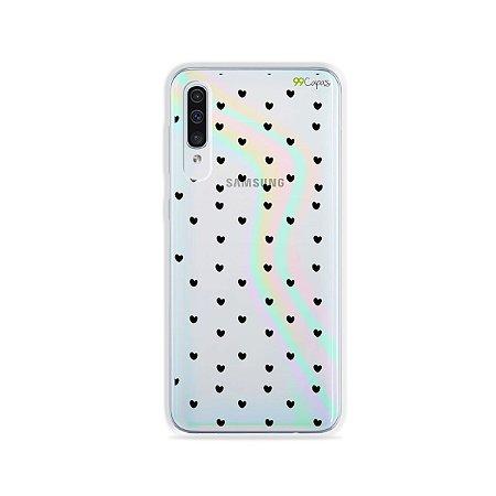 Capinha Holo Translúcida para Galaxy A30s - Corações Preto
