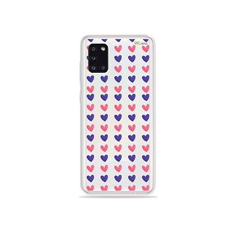 Capa Corações Roxo e Rosa para Galaxy A31