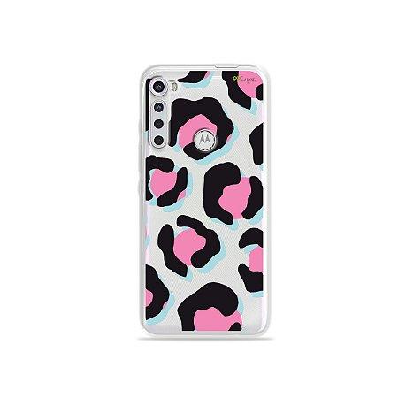 Capinha (transparente) para Moto One Fusion Plus - Animal Print Black & Pink