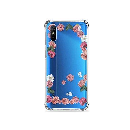 Capinha (transparente) para Redmi 9A - Pink Roses