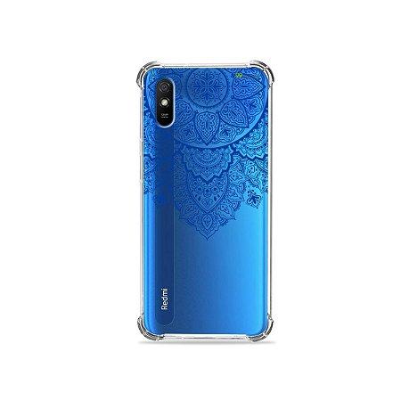 Capinha (transparente) para Redmi 9A - Mandala Azul