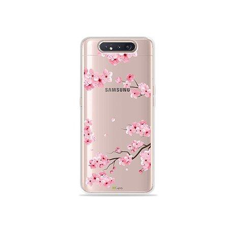 Capinha (Transparente) Cerejeiras para Galaxy A80