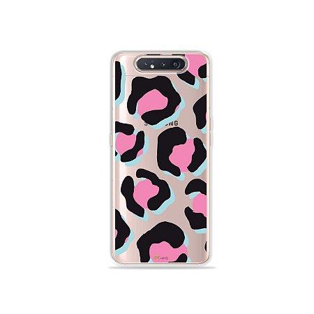 Capinha (Transparente) Animal Print Black & Pink para Galaxy A80