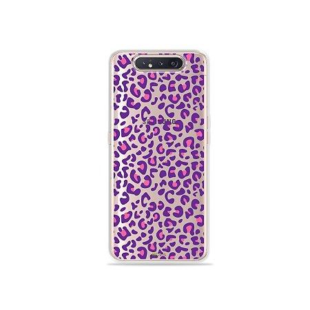 Capinha (Transparente) Animal Print Purple para Galaxy A80