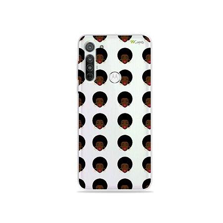 Capa (Transparente) para Moto G8 - Black Girl