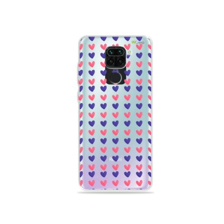 Capinha (Transparente) para Xiaomi Redmi Note 9 - Corações Roxo e Rosa