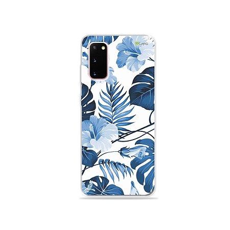 Capinha para Galaxy S20 - Flowers in Blue
