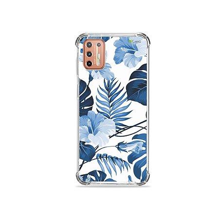 Capinha para Moto G9 Plus - Flowers in Blue