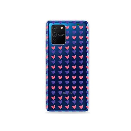 Capa (Transparente) para Galaxy S10 Lite - Corações Roxo e Rosa