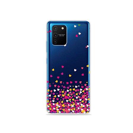 Capa (Transparente) para Galaxy S10 Lite - Corações Rosa