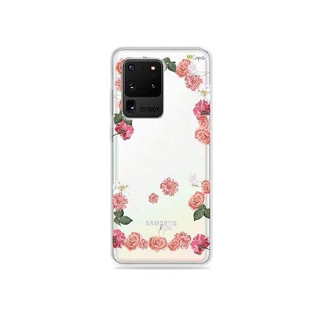 Capa (Transparente) para Galaxy S20 Ultra - Pink Roses