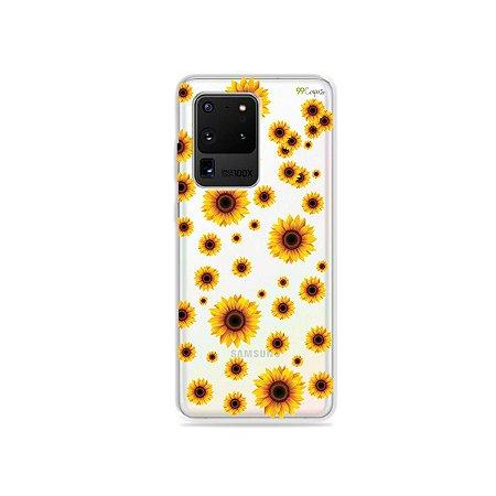 Capa (Transparente) para Galaxy S20 Ultra - Girassóis