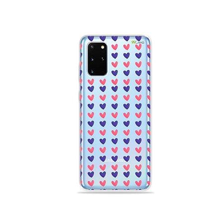 Capa (Transparente) para Galaxy S20 Plus - Corações Roxo e Rosa