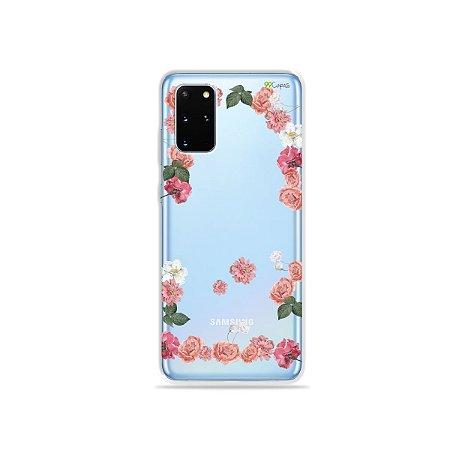 Capa (Transparente) para Galaxy S20 Plus - Pink Roses