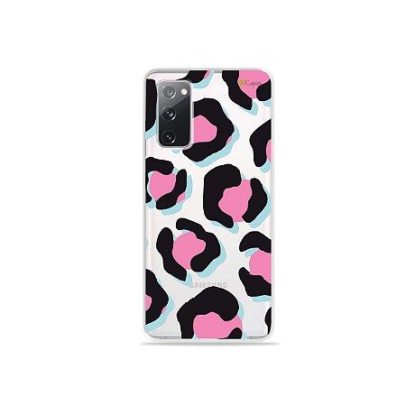 Capa (Transparente) para Galaxy S20 FE - Animal Print Black & Pink