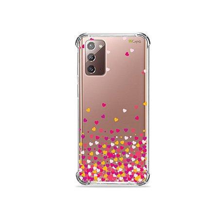 Capa (Transparente) para Galaxy Note 20 - Corações Rosa