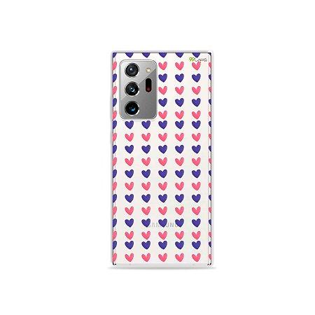 Capa (Transparente) para Galaxy Note 20 Ultra - Corações Roxo e Rosa