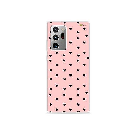Capa para Galaxy Note 20 Ultra - Corações Preto