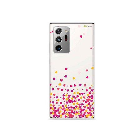 Capa (Transparente) para Galaxy Note 20 Ultra - Corações Rosa