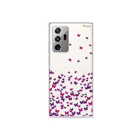 Capa (Transparente) para Galaxy Note 20 Ultra - Borboletas Flutuantes