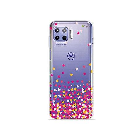 Capa (Transparente) para Moto G 5G Plus - Corações Rosa