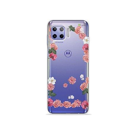Capa (Transparente) para Moto G 5G Plus - Pink Roses