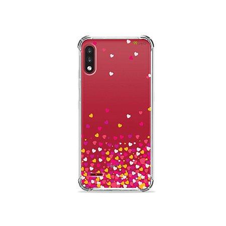 Capa (Transparente) para LG K22 - Corações Rosa