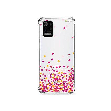 Capa (Transparente) para LG K62 - Corações Rosa