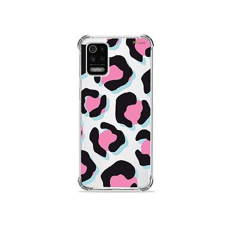 Capa (Transparente) para LG K62 - Animal Print Black & Pink