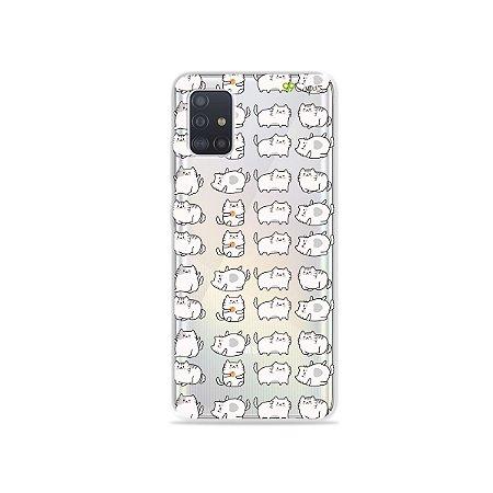 Capinha (transparente) para Galaxy A51 - Lazy Cat