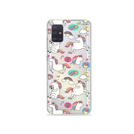 Capinha (transparente) para Galaxy A51 - Unicórnios Felizes