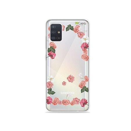 Capinha (transparente) para Galaxy A51 - Pink Roses