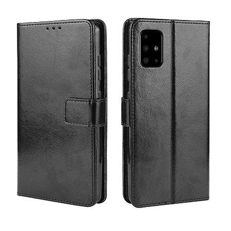 Capa Carteira Preta para Galaxy A71