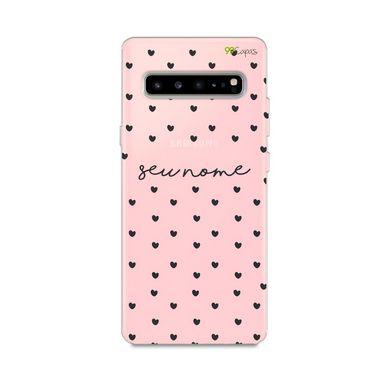 Capa Corações Preto com nome personalizado para Galaxy S