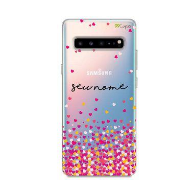 Capa Corações Rosa com nome personalizado para Galaxy S