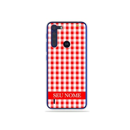 Capa Vichy Vermelho personalizada com nome para Motorola - 99Capas