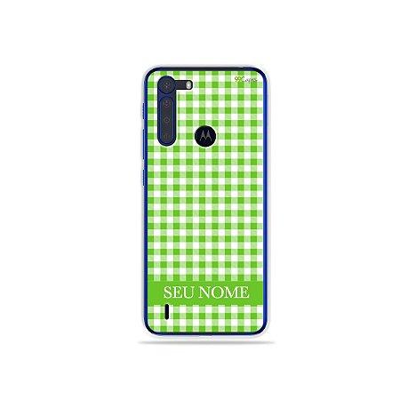 Capa Vichy Verde personalizada com nome para Motorola - 99Capas