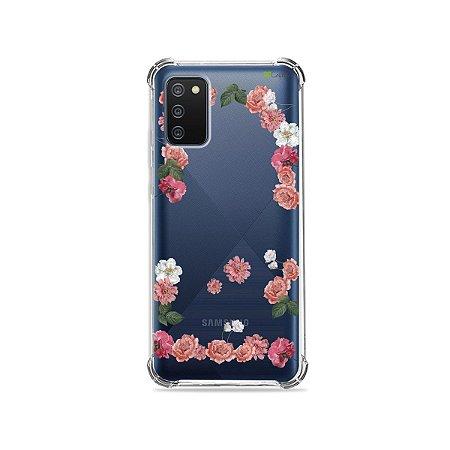 Capa (Transparente) para Galaxy A02s - Pink Roses
