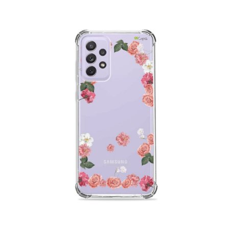 Capa (Transparente) para Galaxy A72 - Pink Roses