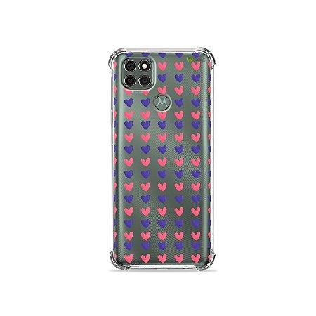 Capa (Transparente) para Moto G9 Power - Corações Roxo e Rosa