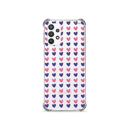 Capa (Transparente) para Galaxy A32 4G - Corações Roxo e Rosa