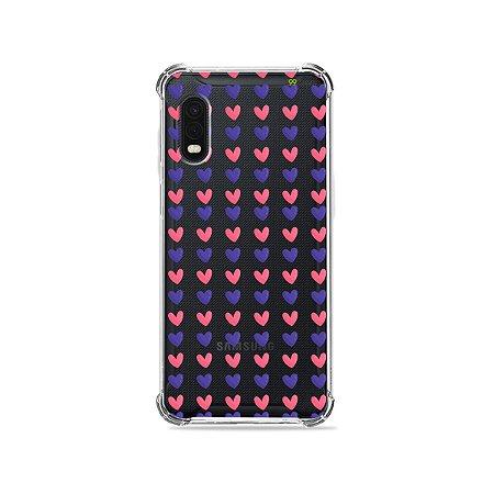 Capa (Transparente) para Galaxy XCover Pro - Corações Roxo e Rosa