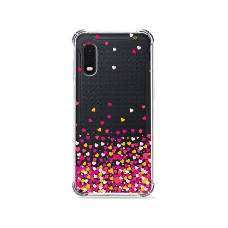 Capa (Transparente) para Galaxy XCover Pro - Corações Rosa