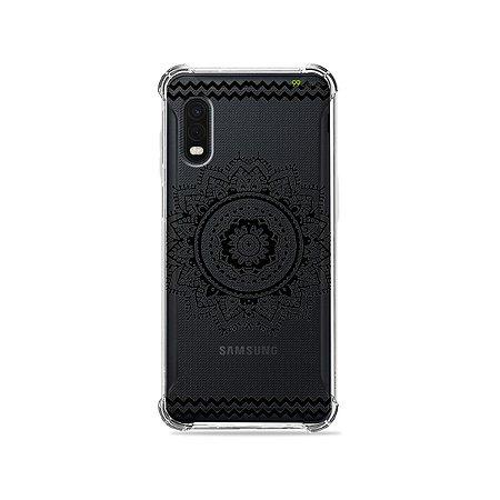Capa (Transparente) para Galaxy XCover Pro - Mandala Preta