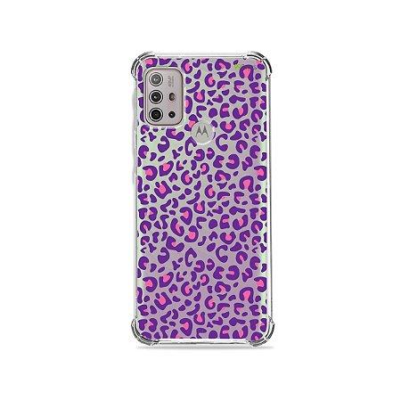 Capa (Transparente) para Moto G10 - Animal Print Purple