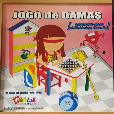 Brinquedo Educativo Jogo De Damas Adaptado Estojo Em MDF - Carlu