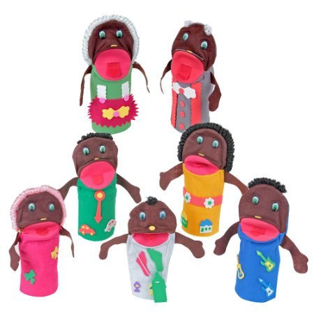 Fantoches familia negra - Feltro - 7 pers. - Emb. plast.