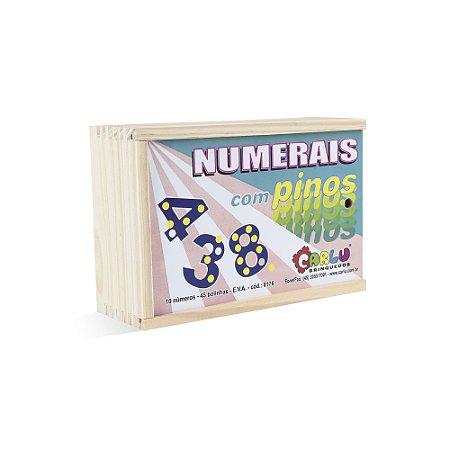 Numerais com pinos - EVA - 55 pc - Cx. mad.