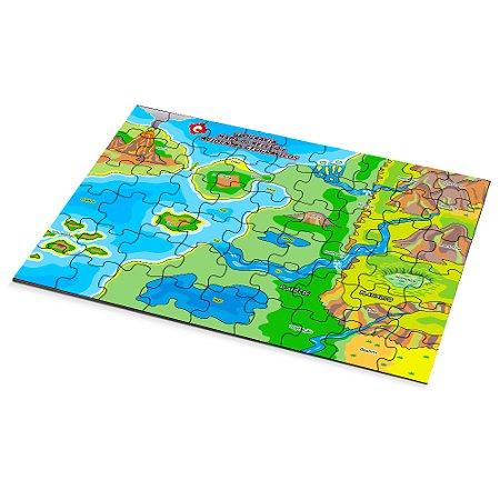 Quebra Cabeça geog. - relevo e acidentes geog. -MDF 54 pc- Cx. Papel