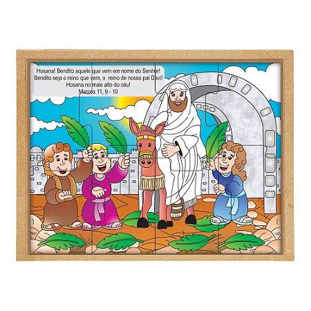 Quebra Cabeça biblico - Domingo de ramos - Base MDF 8 pc PVC enc.